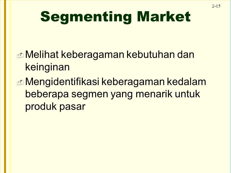 2-15 Segmenting Market  Melihat keberagaman kebutuhan dan keinginan  Mengidentifikasi keberagaman kedalam beberapa segmen yang menarik untuk produk