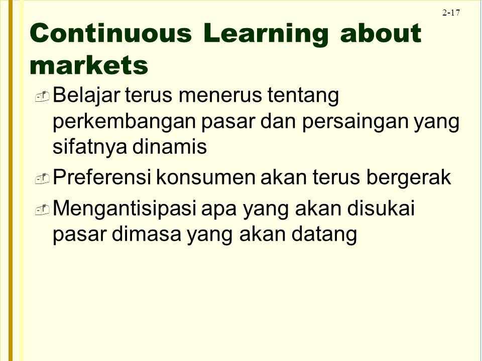 2-17 Continuous Learning about markets  Belajar terus menerus tentang perkembangan pasar dan persaingan yang sifatnya dinamis  Preferensi konsumen a