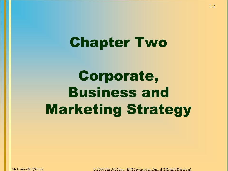 2-2 Chapter Two Corporate, Business and Marketing Strategy McGraw-Hill/Irwin © 2006 The McGraw-Hill Companies, Inc., All Rights Reserved.