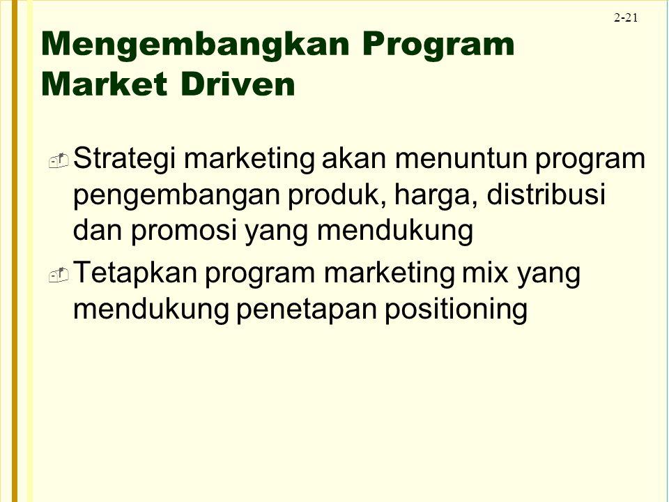 2-21 Mengembangkan Program Market Driven  Strategi marketing akan menuntun program pengembangan produk, harga, distribusi dan promosi yang mendukung