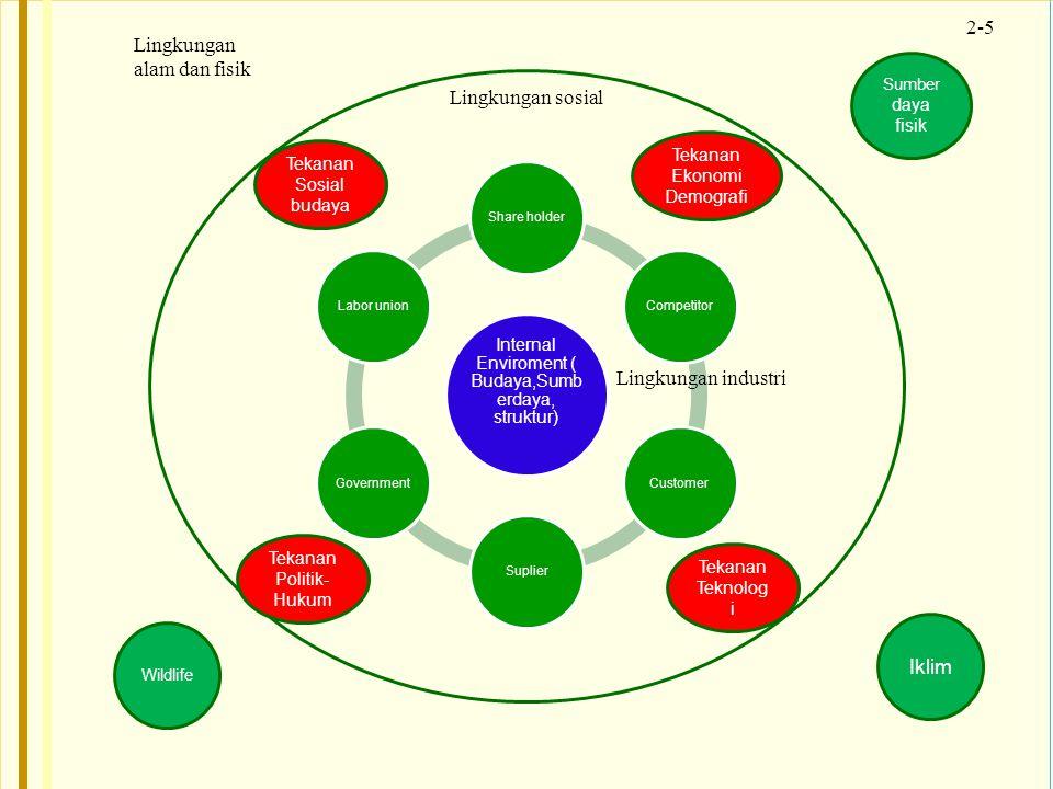 2-5 Internal Enviroment ( Budaya,Sumb erdaya, struktur) Share holderCompetitorCustomerSuplierGovernmentLabor union Lingkungan industri Lingkungan sosi