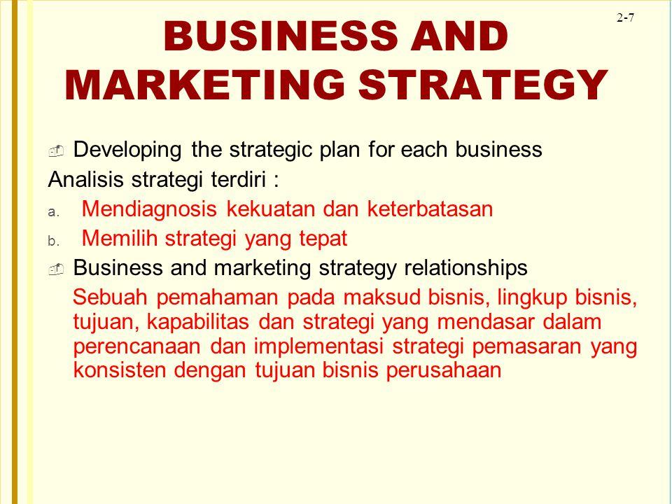 2-7 BUSINESS AND MARKETING STRATEGY  Developing the strategic plan for each business Analisis strategi terdiri : a. Mendiagnosis kekuatan dan keterba
