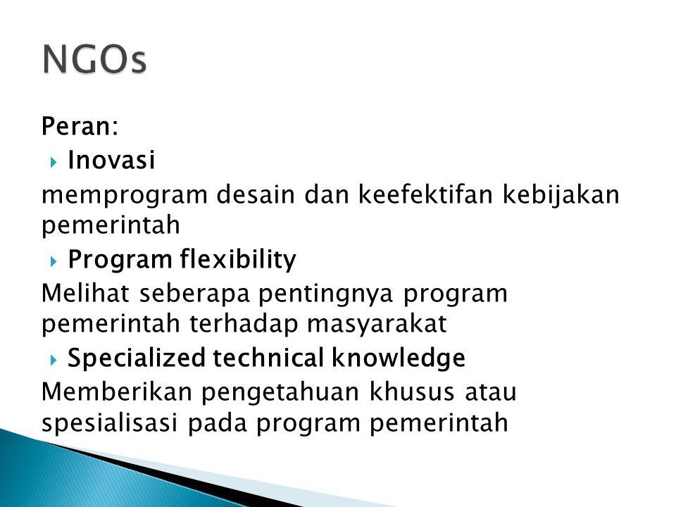 Peran:  Inovasi memprogram desain dan keefektifan kebijakan pemerintah  Program flexibility Melihat seberapa pentingnya program pemerintah terhadap masyarakat  Specialized technical knowledge Memberikan pengetahuan khusus atau spesialisasi pada program pemerintah