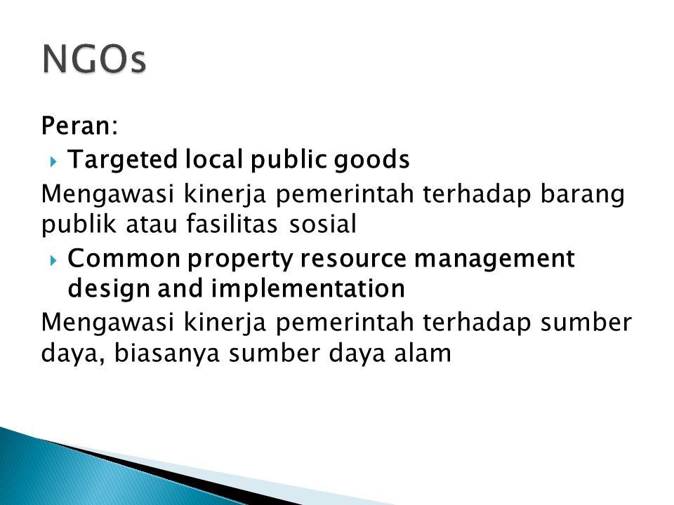 Peran:  Targeted local public goods Mengawasi kinerja pemerintah terhadap barang publik atau fasilitas sosial  Common property resource management design and implementation Mengawasi kinerja pemerintah terhadap sumber daya, biasanya sumber daya alam