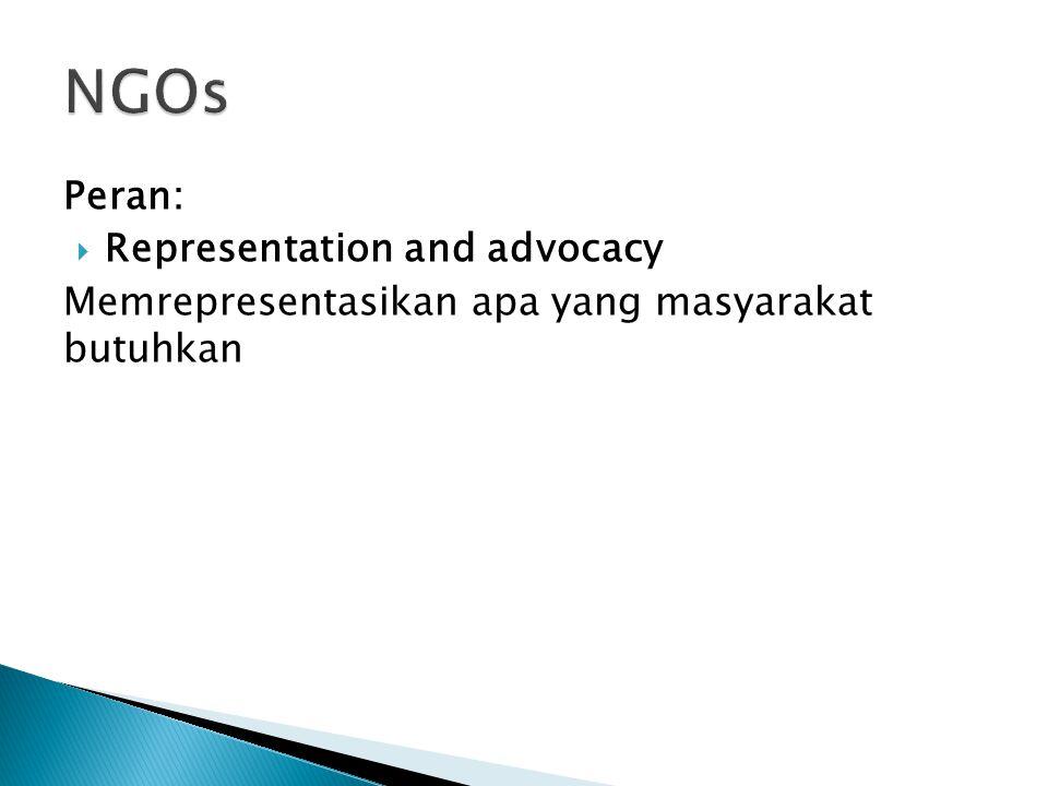 Peran:  Representation and advocacy Memrepresentasikan apa yang masyarakat butuhkan