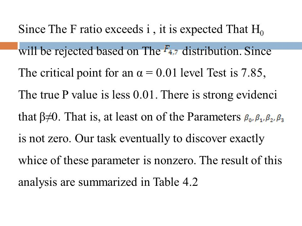 Since The F ratio exceeds i, it is expected That H 0 will be rejected based on The distribution. Since The critical point for an α = 0.01 level Test i