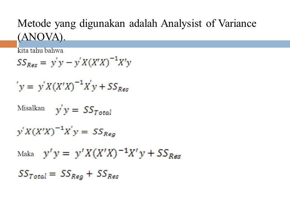 UJI HIPOTESIS A SUBVECTOR DARI β Di bagian 4.1 kita menguji H 0 : β = 0 dengan H 1 : β ≠ 0 Model Regresi linear dapat di tuliskan sebagai berikut y = X β + dimana dan.
