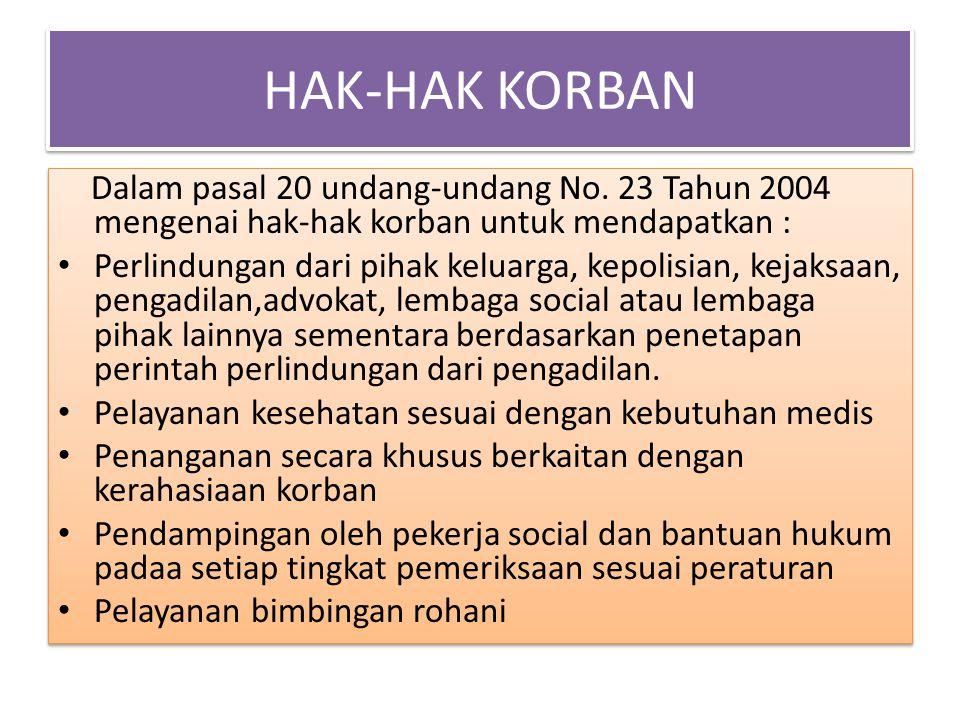 HAK-HAK KORBAN Dalam pasal 20 undang-undang No. 23 Tahun 2004 mengenai hak-hak korban untuk mendapatkan : Perlindungan dari pihak keluarga, kepolisian