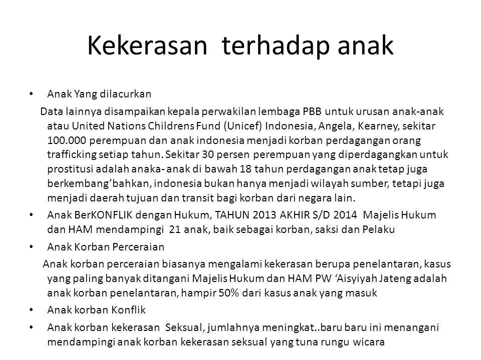 Kekerasan terhadap anak Anak Yang dilacurkan Data lainnya disampaikan kepala perwakilan lembaga PBB untuk urusan anak-anak atau United Nations Childre