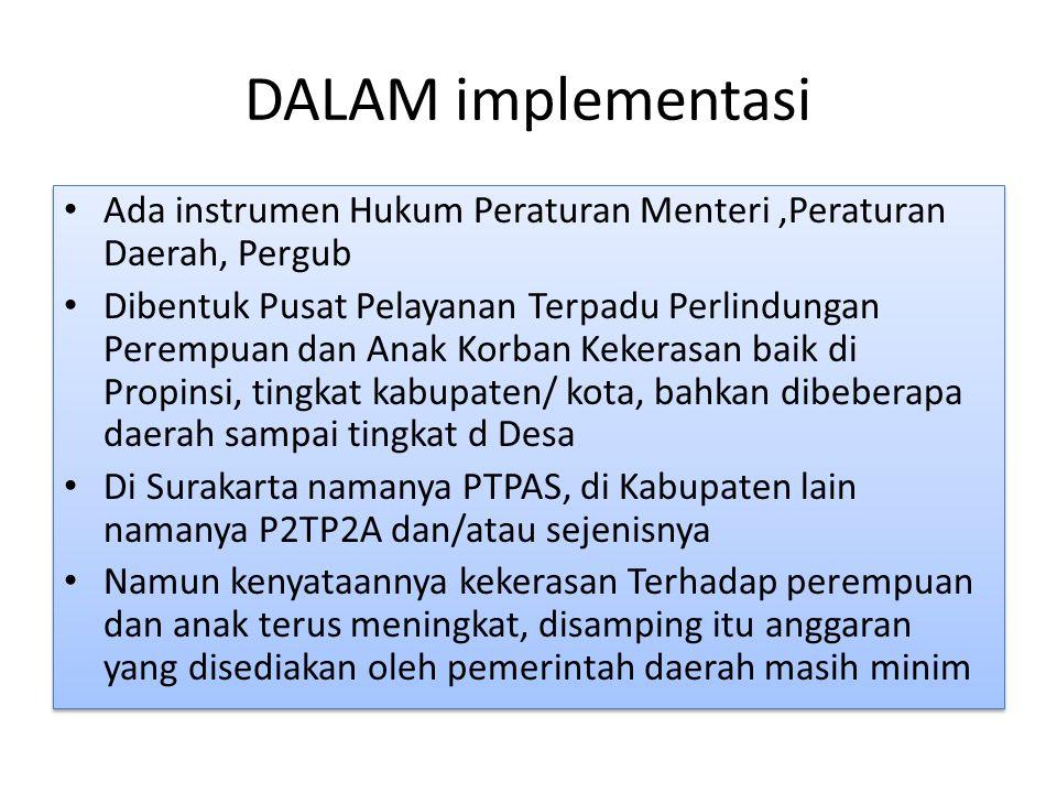 DALAM implementasi Ada instrumen Hukum Peraturan Menteri,Peraturan Daerah, Pergub Dibentuk Pusat Pelayanan Terpadu Perlindungan Perempuan dan Anak Kor