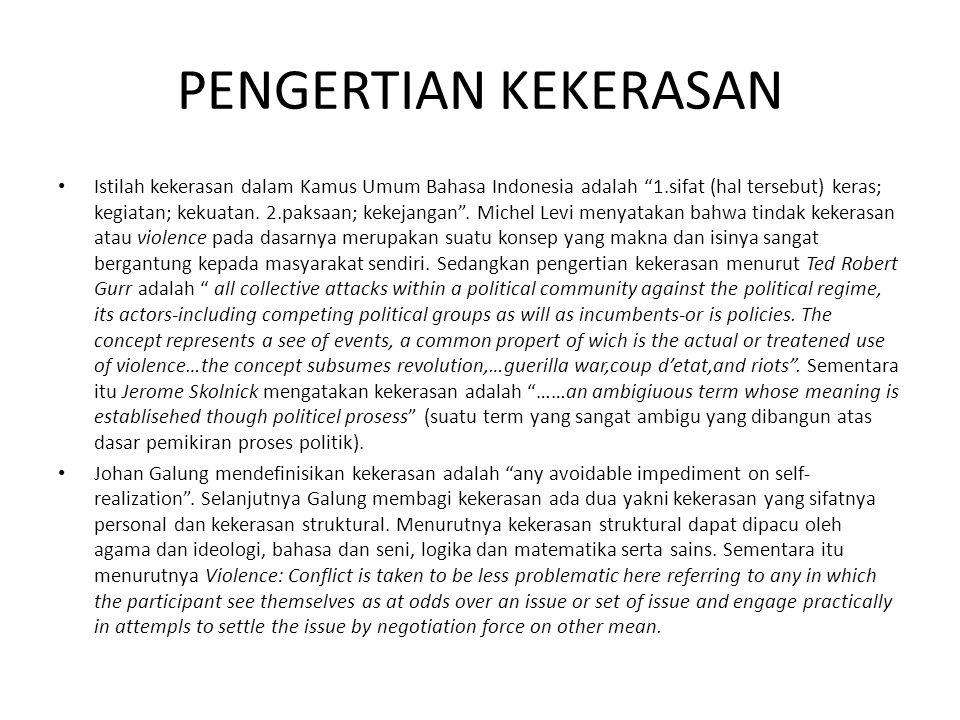 """PENGERTIAN KEKERASAN Istilah kekerasan dalam Kamus Umum Bahasa Indonesia adalah """"1.sifat (hal tersebut) keras; kegiatan; kekuatan. 2.paksaan; kekejang"""
