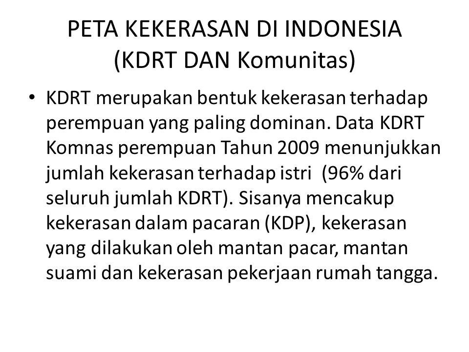 PETA KEKERASAN DI INDONESIA (KDRT DAN Komunitas) KDRT merupakan bentuk kekerasan terhadap perempuan yang paling dominan. Data KDRT Komnas perempuan Ta