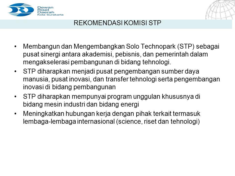 4/20/2015 Seite 5 Seite 5 REKOMENDASI KOMISI STP Membangun dan Mengembangkan Solo Technopark (STP) sebagai pusat sinergi antara akademisi, pebisnis, d