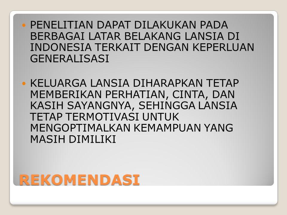 REKOMENDASI PENELITIAN DAPAT DILAKUKAN PADA BERBAGAI LATAR BELAKANG LANSIA DI INDONESIA TERKAIT DENGAN KEPERLUAN GENERALISASI KELUARGA LANSIA DIHARAPK