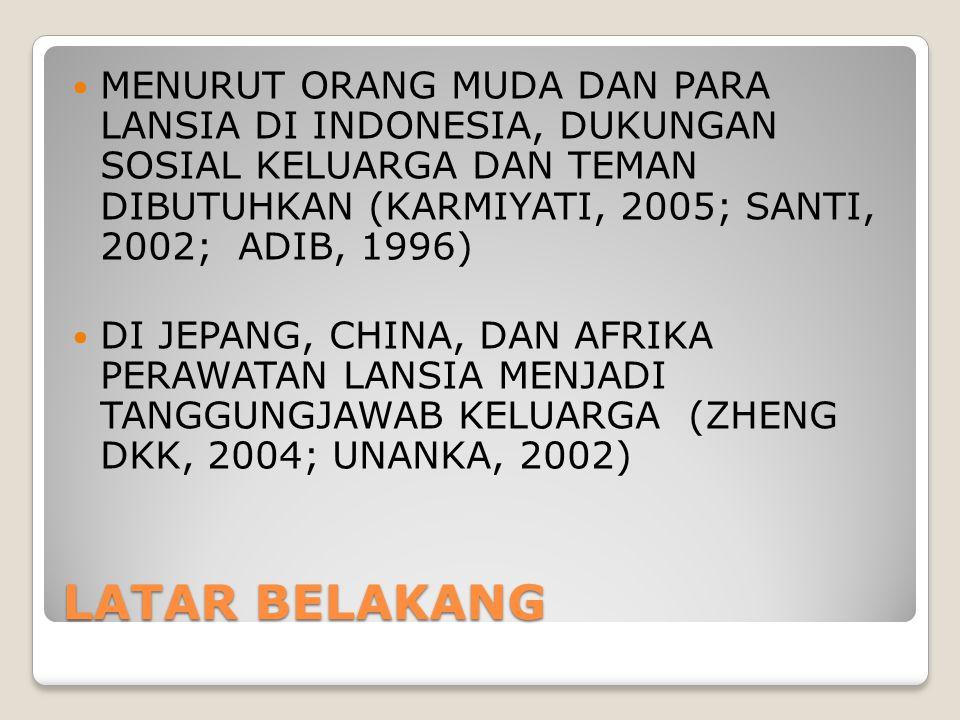 LATAR BELAKANG MENURUT ORANG MUDA DAN PARA LANSIA DI INDONESIA, DUKUNGAN SOSIAL KELUARGA DAN TEMAN DIBUTUHKAN (KARMIYATI, 2005; SANTI, 2002; ADIB, 199