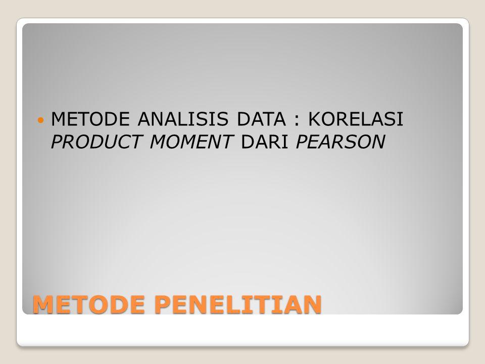 METODE PENELITIAN METODE ANALISIS DATA : KORELASI PRODUCT MOMENT DARI PEARSON