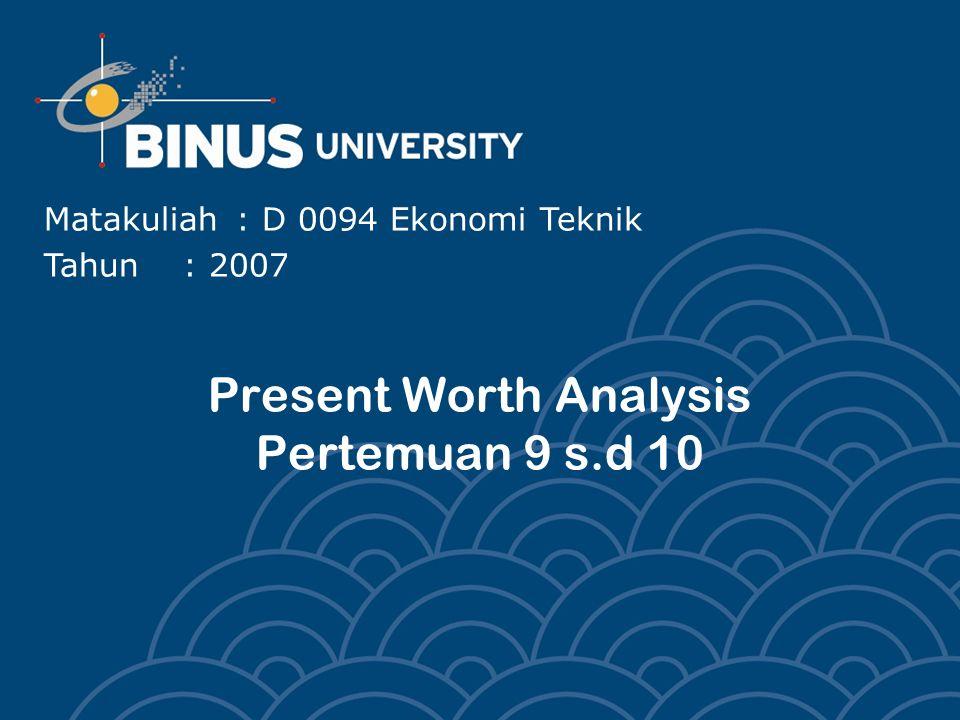 Present Worth Analysis Pertemuan 9 s.d 10 Matakuliah: D 0094 Ekonomi Teknik Tahun: 2007