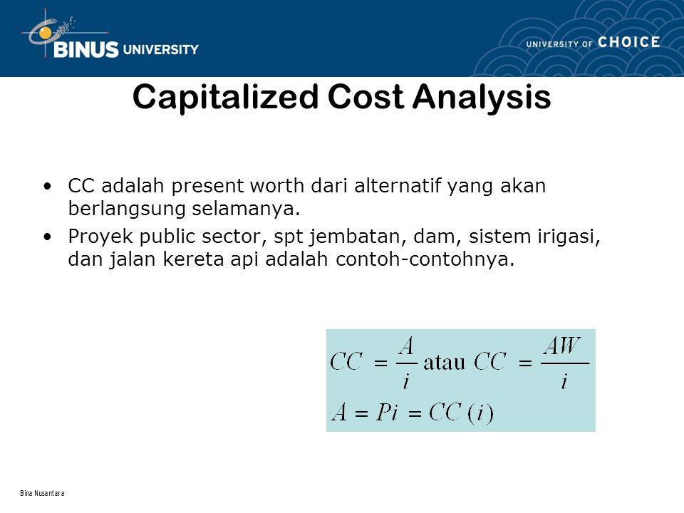 Bina Nusantara Capitalized Cost Analysis CC adalah present worth dari alternatif yang akan berlangsung selamanya. Proyek public sector, spt jembatan,