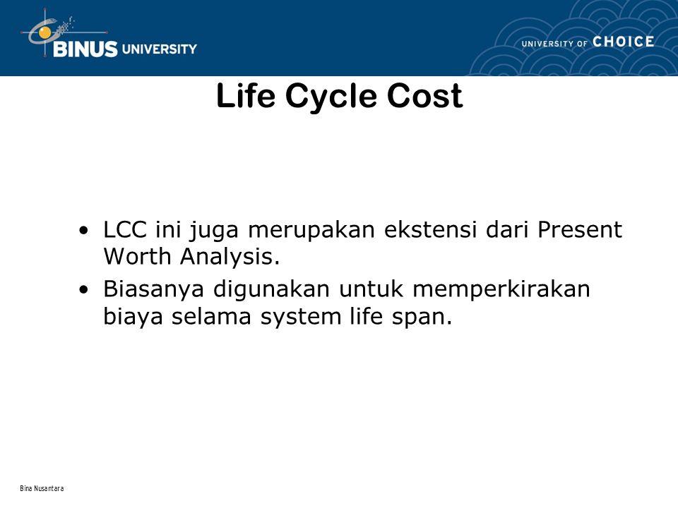 Bina Nusantara Life Cycle Cost LCC ini juga merupakan ekstensi dari Present Worth Analysis. Biasanya digunakan untuk memperkirakan biaya selama system