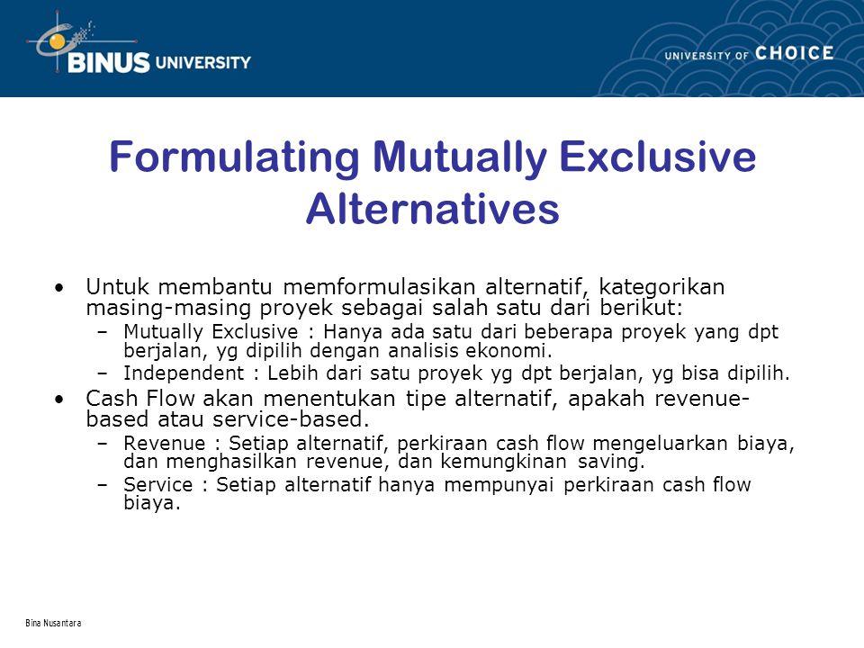 Bina Nusantara Formulating Mutually Exclusive Alternatives Untuk membantu memformulasikan alternatif, kategorikan masing-masing proyek sebagai salah s