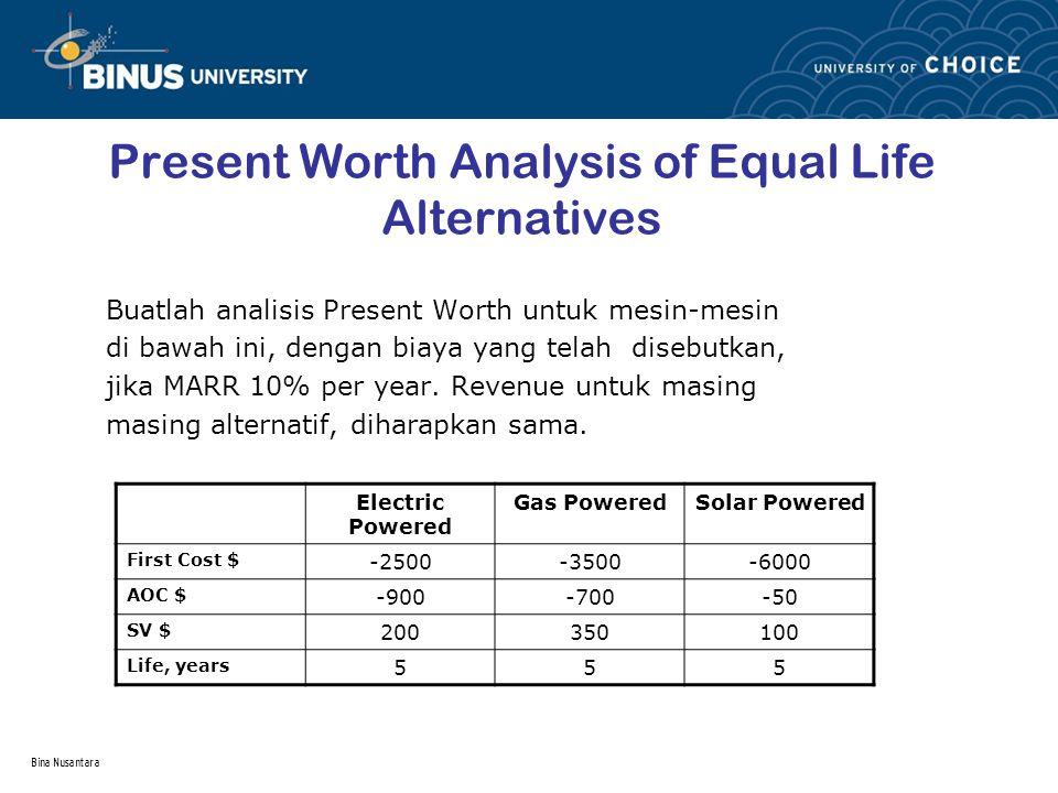 Bina Nusantara Present Worth Analysis of Equal Life Alternatives Buatlah analisis Present Worth untuk mesin-mesin di bawah ini, dengan biaya yang tela