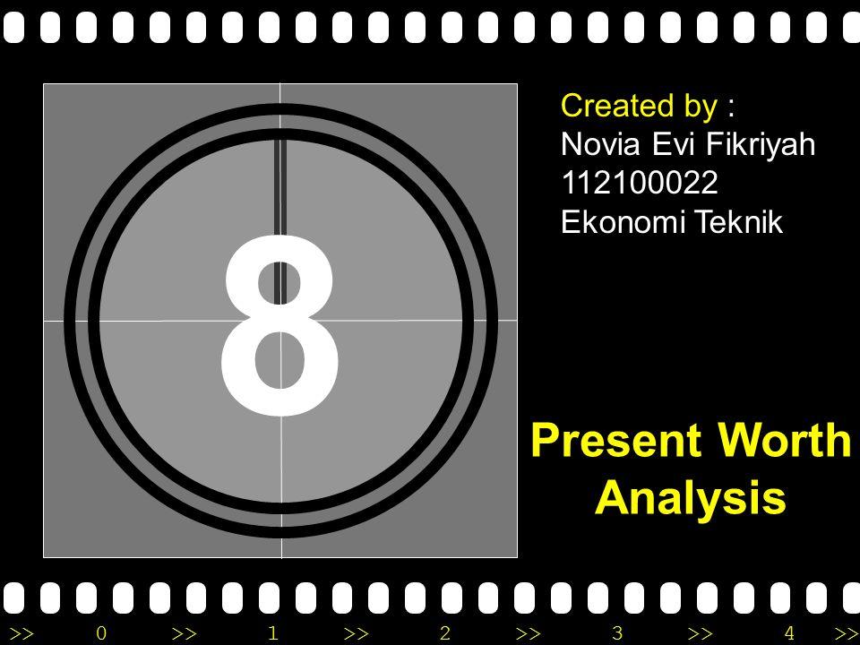 >>0 >>1 >> 2 >> 3 >> 4 >> 8 Created by : Novia Evi Fikriyah 112100022 Ekonomi Teknik Present Worth Analysis