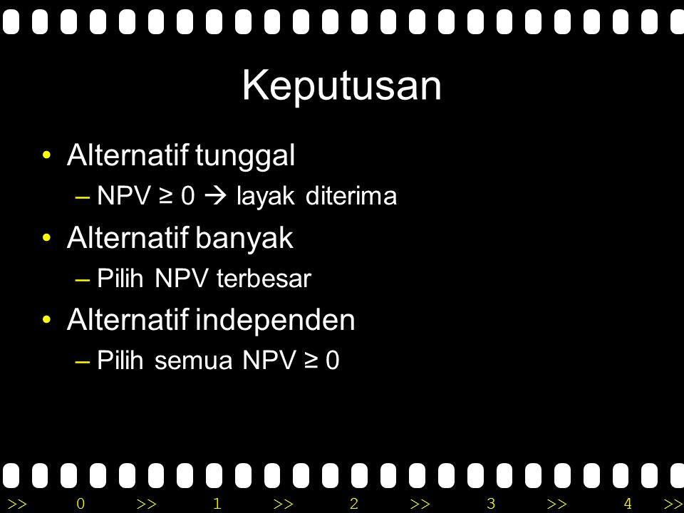 >>0 >>1 >> 2 >> 3 >> 4 >> Menghitung NPV (Net Present Worth) dari masing – masing alternatif.