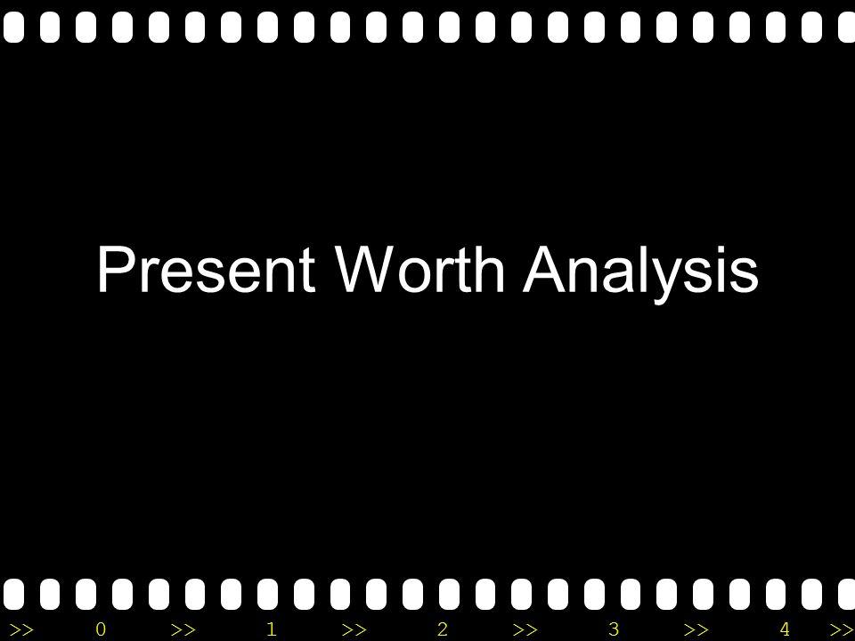 Present Worth Analysis Present worth analysis didasarkan pada konsep ekuivalensi, dimana arus kas masuk dan arus kan keluar diperhitungkan terhadap titik waktu sekarang pada suatu tingkat pengembalian minimum yang diinginkan (MARR)