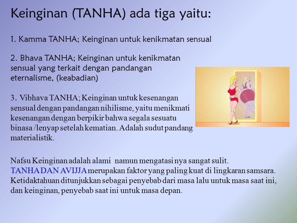 Keinginan (TANHA) ada tiga yaitu: Nafsu Keinginan adalah alami namun mengatasi nya sangat sulit. TANHA DAN AVIJJA merupakan faktor yang paling kuat di