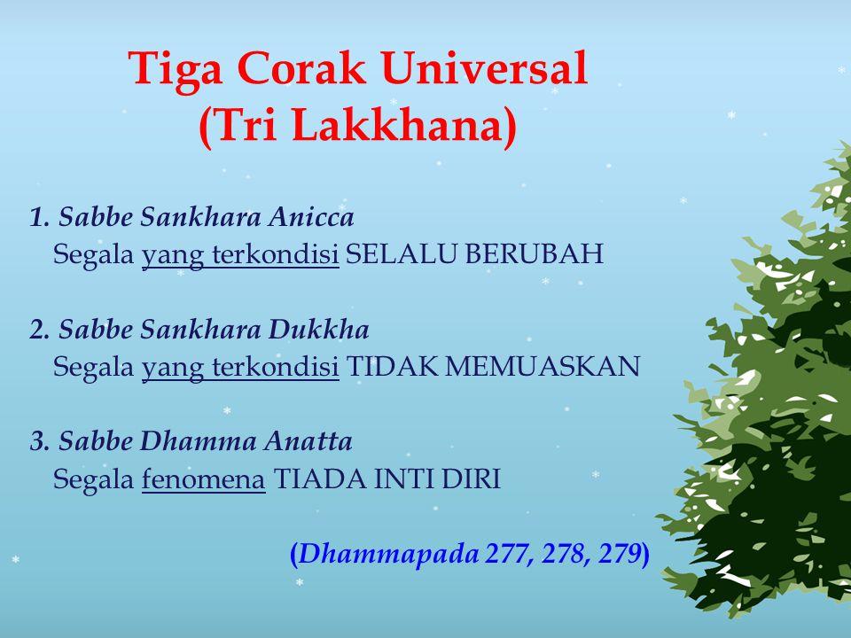 Tiga Corak Universal (Tri Lakkhana) 1. Sabbe Sankhara Anicca Segala yang terkondisi SELALU BERUBAH 2. Sabbe Sankhara Dukkha Segala yang terkondisi TID