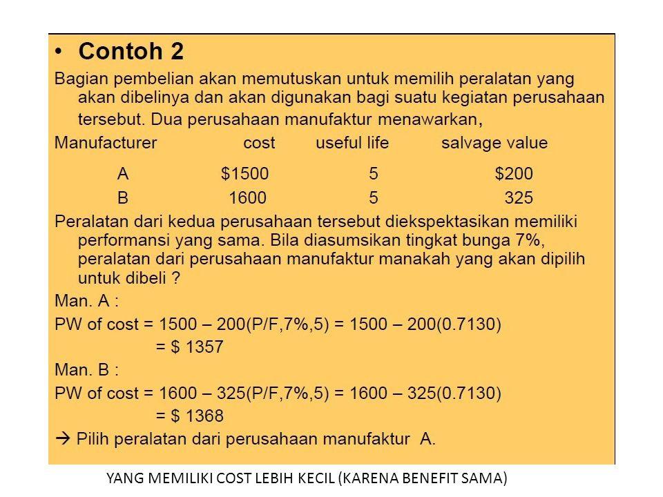 YANG MEMILIKI COST LEBIH KECIL (KARENA BENEFIT SAMA)
