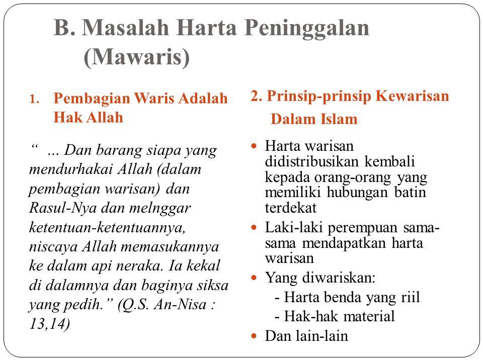 B. Masalah Harta Peninggalan (Mawaris) 1. Pembagian Waris Adalah Hak Allah 2.