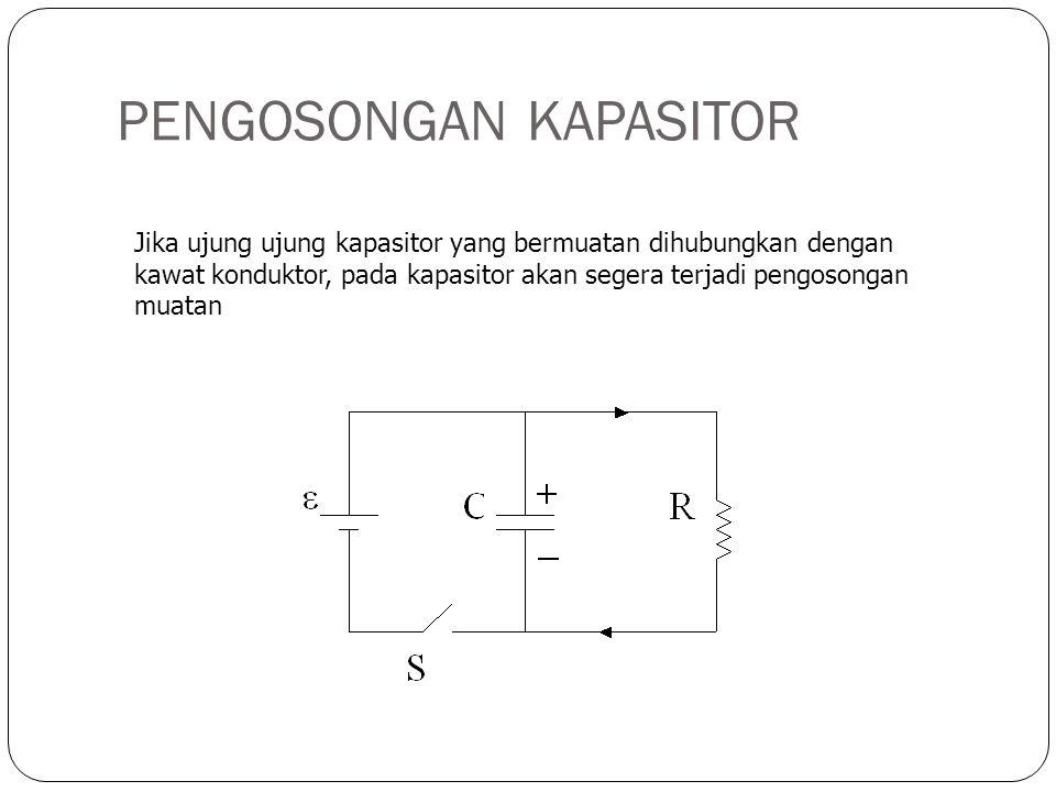 PENGOSONGAN KAPASITOR Jika ujung ujung kapasitor yang bermuatan dihubungkan dengan kawat konduktor, pada kapasitor akan segera terjadi pengosongan mua