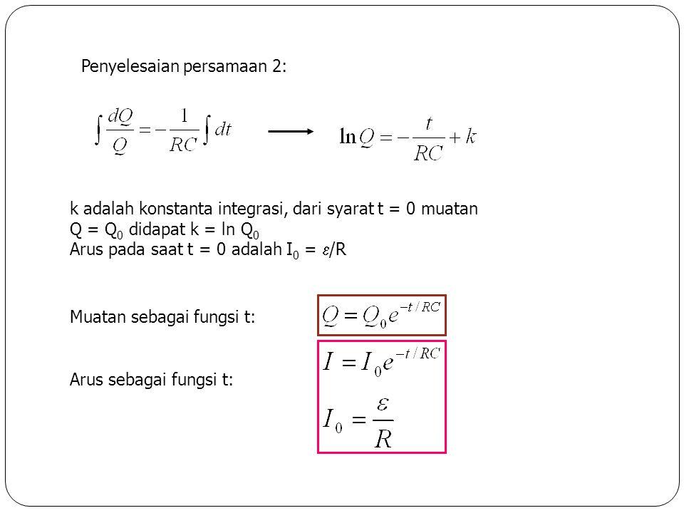 Penyelesaian persamaan 2: k adalah konstanta integrasi, dari syarat t = 0 muatan Q = Q 0 didapat k = ln Q 0 Arus pada saat t = 0 adalah I 0 =  /R Aru