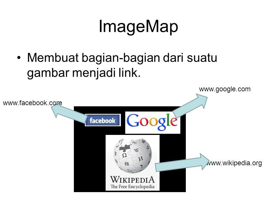 ImageMap Membuat bagian-bagian dari suatu gambar menjadi link. www.google.com www.wikipedia.org www.facebook.com