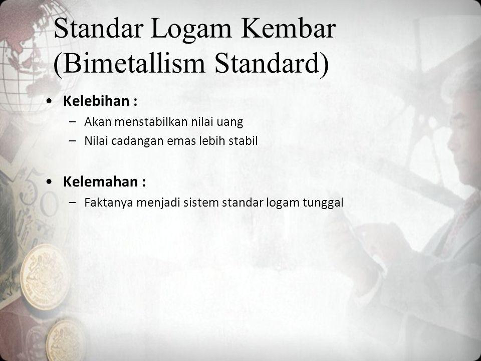 Kelebihan : –Akan menstabilkan nilai uang –Nilai cadangan emas lebih stabil Kelemahan : –Faktanya menjadi sistem standar logam tunggal Standar Logam Kembar (Bimetallism Standard)