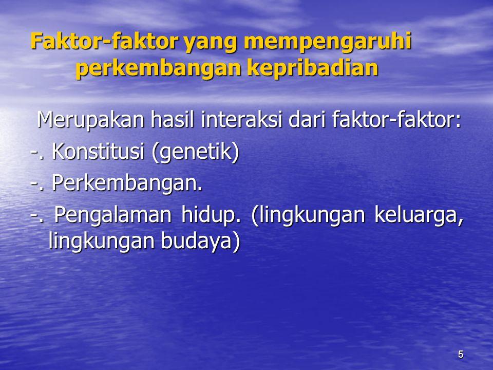 5 Faktor-faktor yang mempengaruhi perkembangan kepribadian Merupakan hasil interaksi dari faktor-faktor: Merupakan hasil interaksi dari faktor-faktor: -.