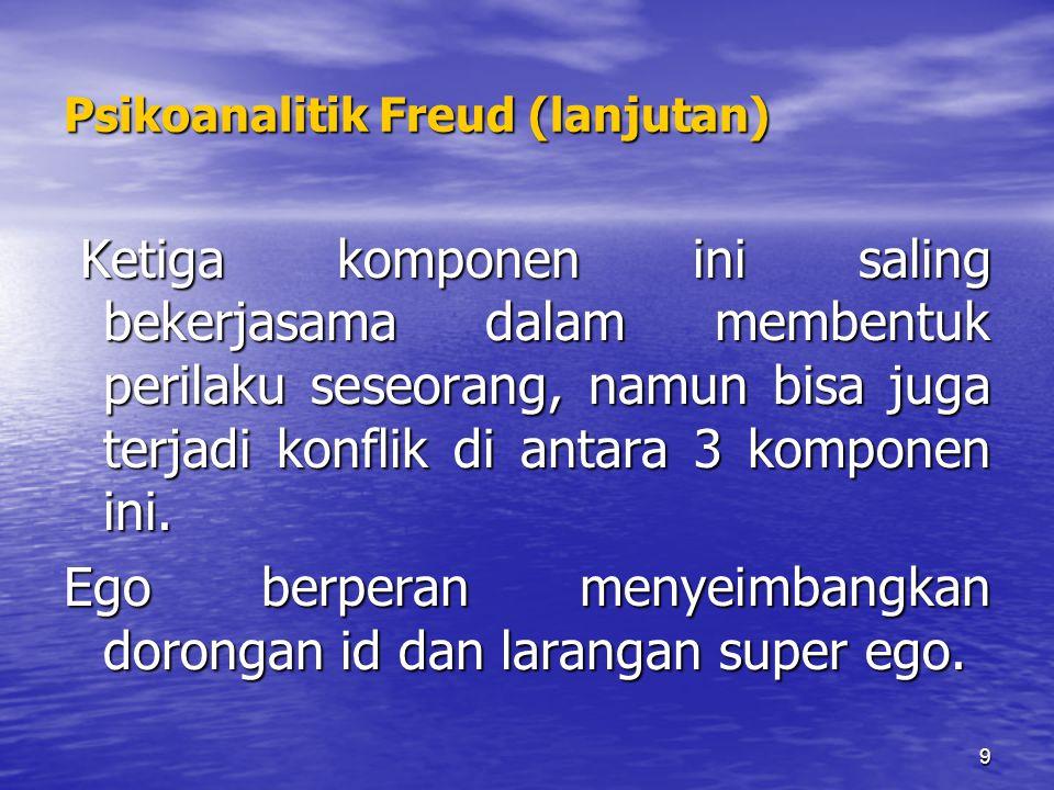 9 Psikoanalitik Freud (lanjutan) Ketiga komponen ini saling bekerjasama dalam membentuk perilaku seseorang, namun bisa juga terjadi konflik di antara 3 komponen ini.
