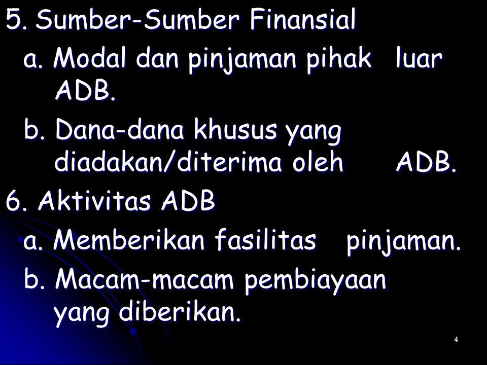 4 5. Sumber-Sumber Finansial a. Modal dan pinjaman pihak luar ADB.