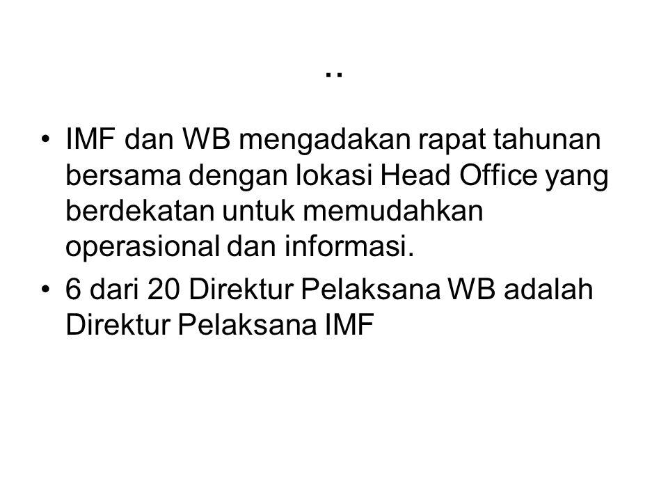 .. IMF dan WB mengadakan rapat tahunan bersama dengan lokasi Head Office yang berdekatan untuk memudahkan operasional dan informasi. 6 dari 20 Direktu