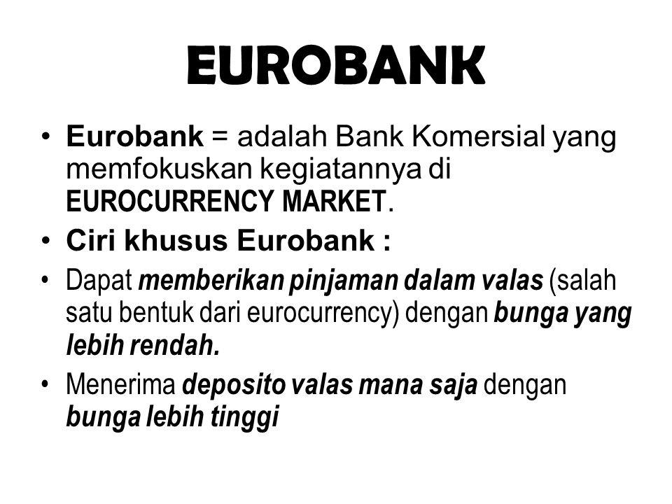 EUROBANK Eurobank = adalah Bank Komersial yang memfokuskan kegiatannya di EUROCURRENCY MARKET. Ciri khusus Eurobank : Dapat memberikan pinjaman dalam