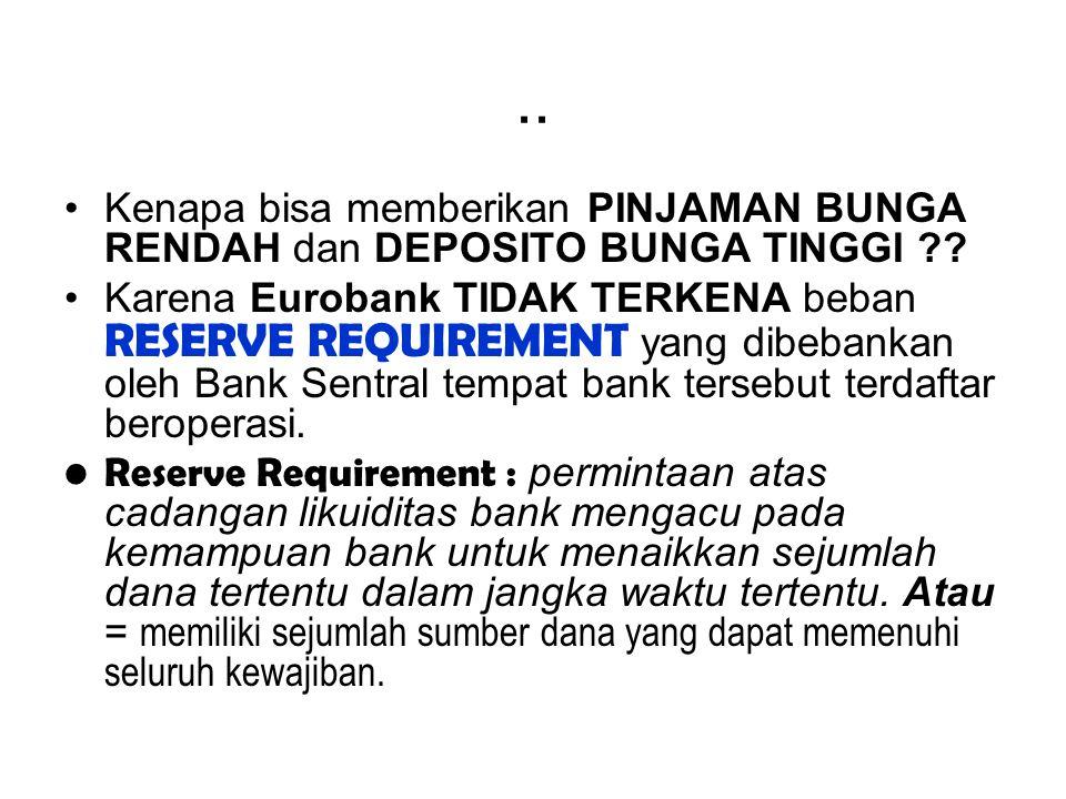.. Kenapa bisa memberikan PINJAMAN BUNGA RENDAH dan DEPOSITO BUNGA TINGGI ?? Karena Eurobank TIDAK TERKENA beban RESERVE REQUIREMENT yang dibebankan o