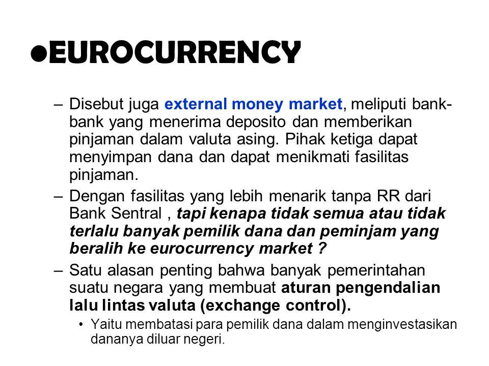 .. EUROCURRENCY –Disebut juga external money market, meliputi bank- bank yang menerima deposito dan memberikan pinjaman dalam valuta asing. Pihak keti