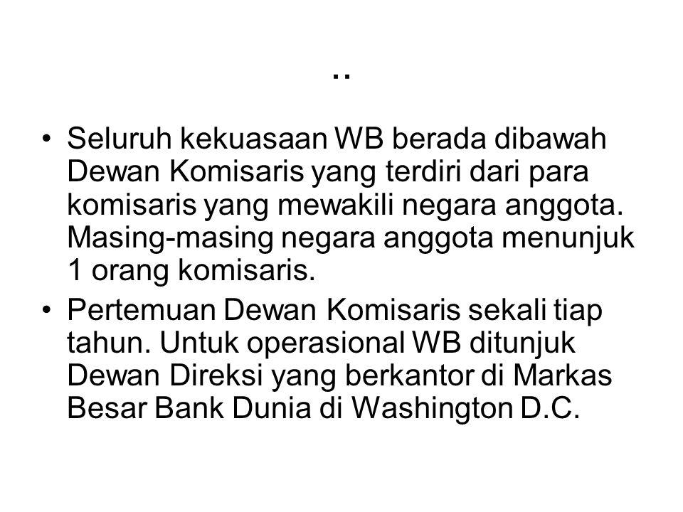.. Seluruh kekuasaan WB berada dibawah Dewan Komisaris yang terdiri dari para komisaris yang mewakili negara anggota. Masing-masing negara anggota men