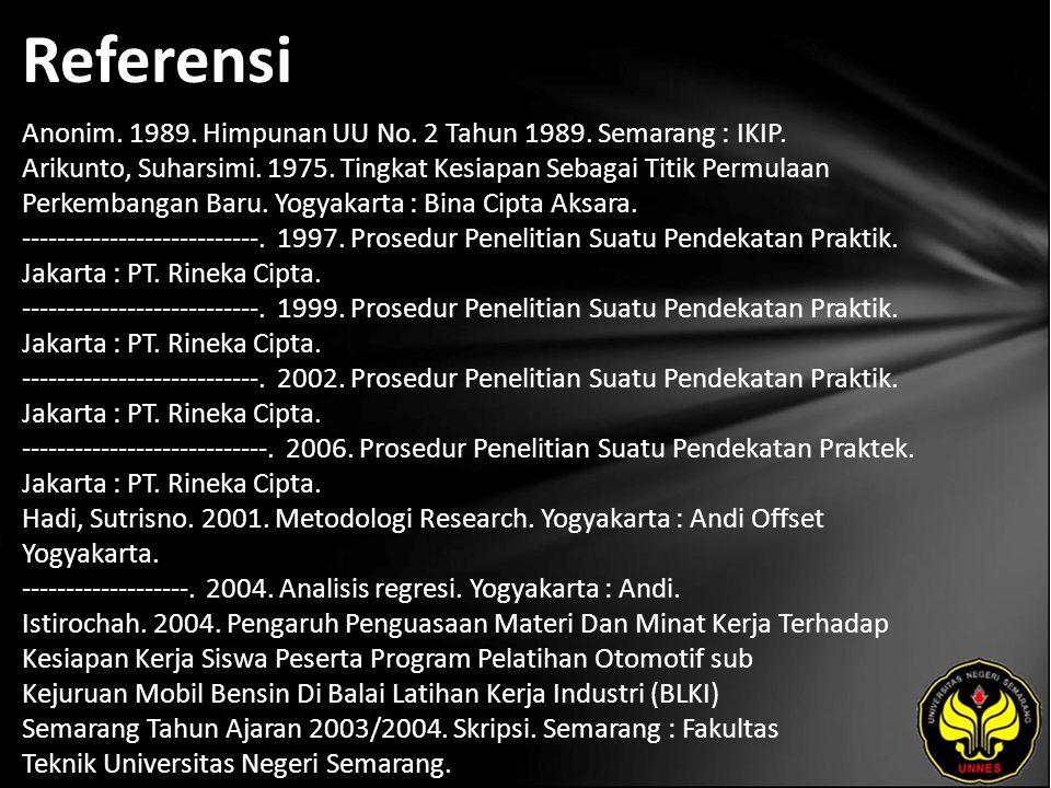 Referensi Anonim. 1989. Himpunan UU No. 2 Tahun 1989. Semarang : IKIP. Arikunto, Suharsimi. 1975. Tingkat Kesiapan Sebagai Titik Permulaan Perkembanga