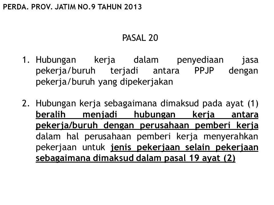 PASAL 20 1.Hubungan kerja dalam penyediaan jasa pekerja/buruh terjadi antara PPJP dengan pekerja/buruh yang dipekerjakan 2.Hubungan kerja sebagaimana