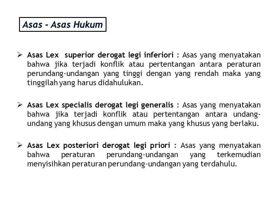  Asas Lex superior derogat legi inferiori : Asas yang menyatakan bahwa jika terjadi konflik atau pertentangan antara peraturan perundang-undangan yan