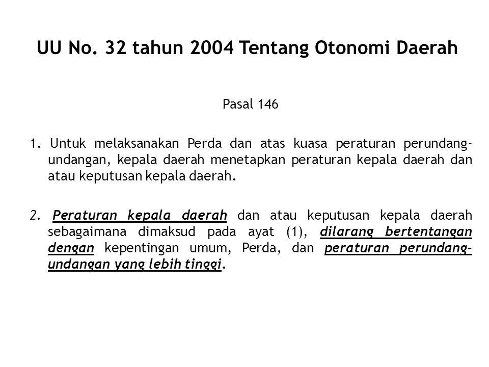 UU No. 32 tahun 2004 Tentang Otonomi Daerah Pasal 146 1. Untuk melaksanakan Perda dan atas kuasa peraturan perundang- undangan, kepala daerah menetapk