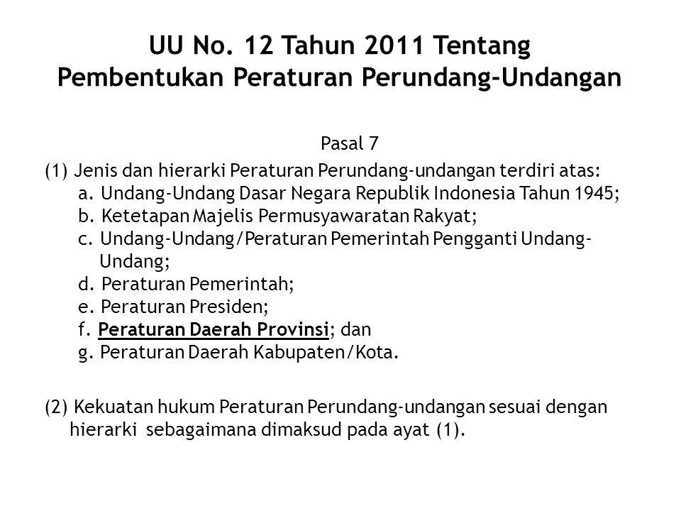 UU No. 12 Tahun 2011 Tentang Pembentukan Peraturan Perundang-Undangan Pasal 7 (1) Jenis dan hierarki Peraturan Perundang-undangan terdiri atas: a. Und