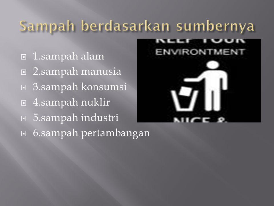  1.sampah alam  2.sampah manusia  3.sampah konsumsi  4.sampah nuklir  5.sampah industri  6.sampah pertambangan